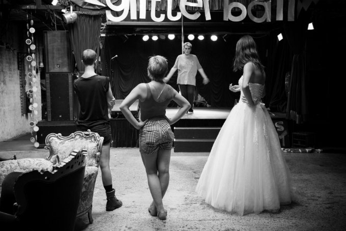 LGBTIQA Young people prepare for a performance at LGBTIQA youth event, Glitterball, in Sydney.