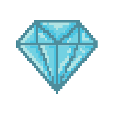 A pixelated diamond.